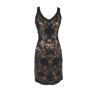 SUE WONG NOCTURNE BEADED LACE COCKTAIL DRESS